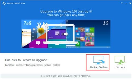 Fare clic su Sistema Backup per effettuare il downgrade di Windows 10 e Windows 8.1