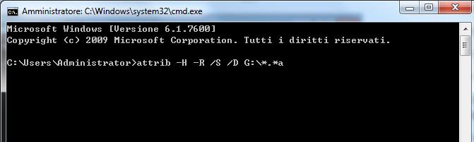 Usa CMD per recuperare i file dai dispositivi di memoria infetti da virus. Passo 2 per usarlo.