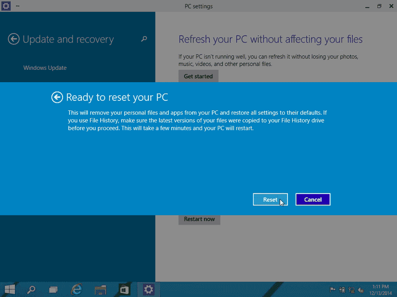 Recuperare i file dopo la risistemazione di Windows 10.