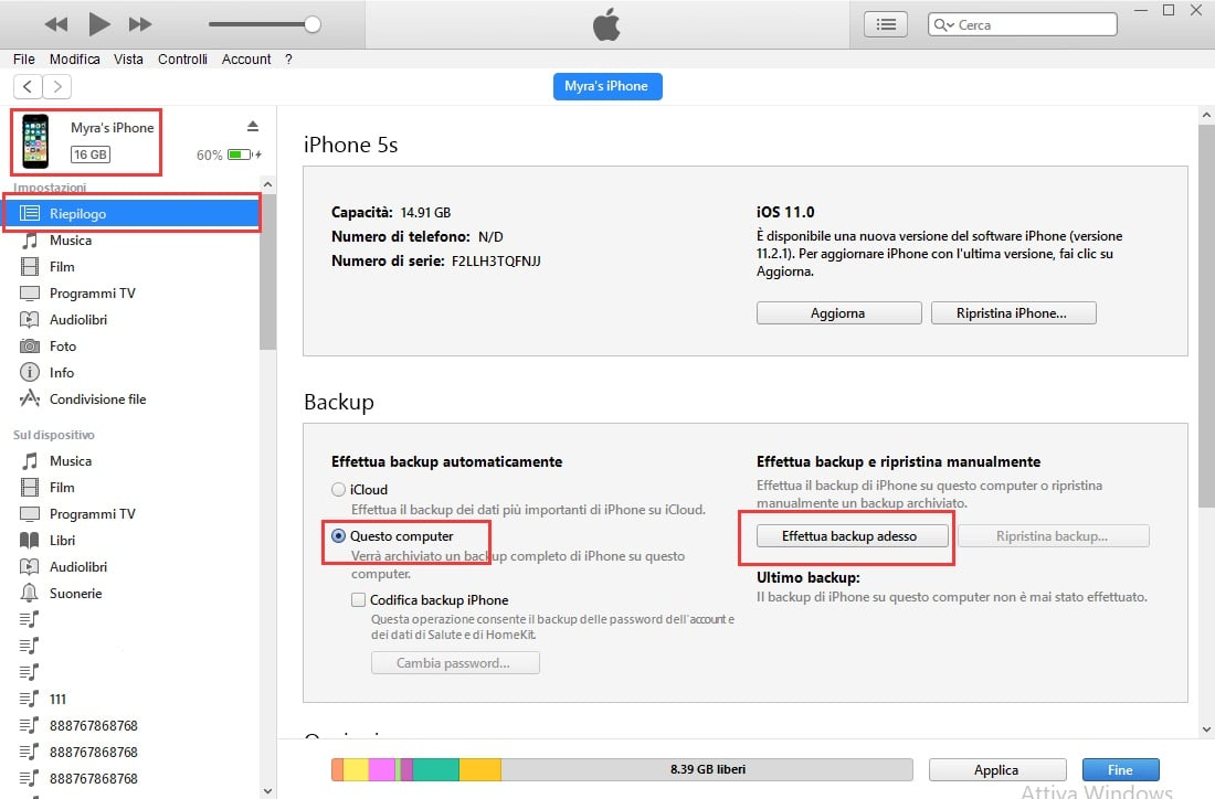 fare il backup con iTunes