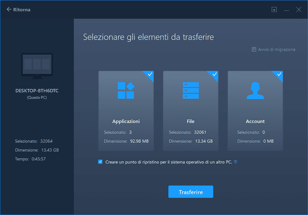 EaeUS Todo PC Trans trasferisce facilmente i dati da Windows 7 a 10.