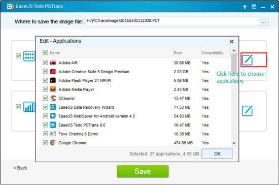 Trasferire le applicazioni a windows 10. Passo per usare il software di EaseUS.